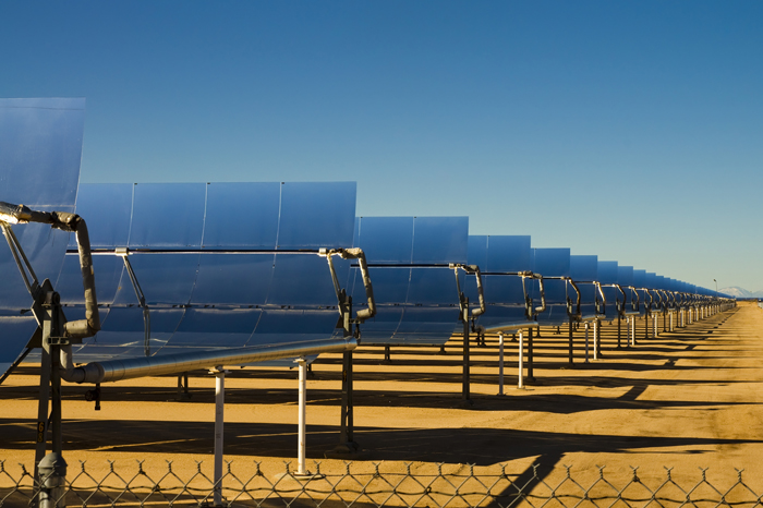 SEGS solar thermal energy electricity plant with parabolic mirrors