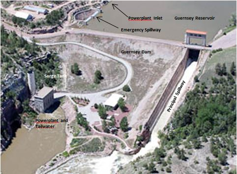 Figure 4: Guernsey Dam and Powerplant